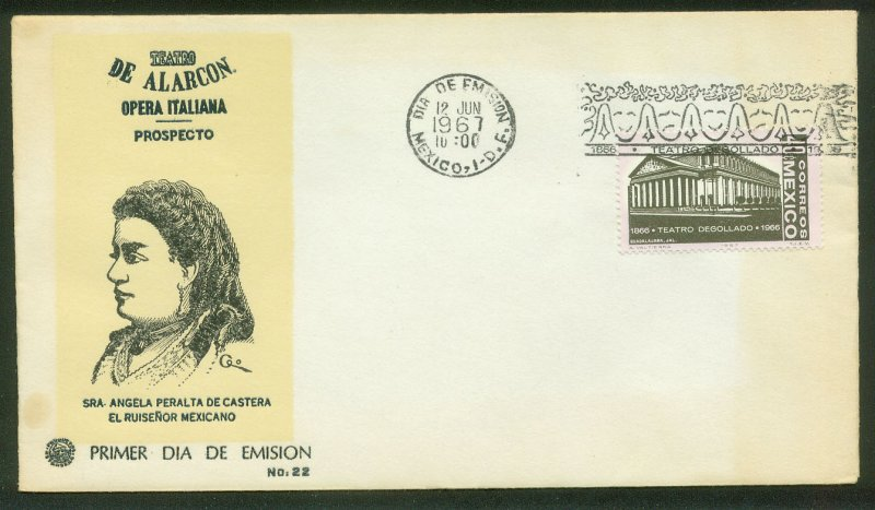 MEXICO 979, DEGOLLADO THEATER CENTENARY. FDC VF. (96)