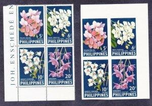 Philippines 853a & 853b (850-53) 1962 Vanda Orchids Blocks of 4 Perf & IMPERF