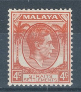 Straits Settlements 1937 King George VI 4c Scott # 240 MH
