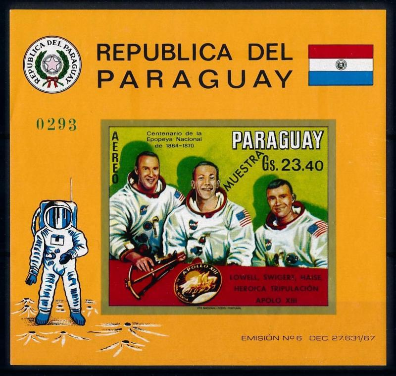 [66064] Paraguay 1970 Space Travel Apollo 13 OVP Muestra Souvenir Sheet MNH