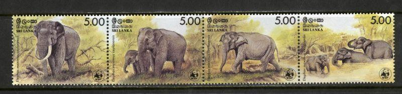 Sri Lanka Stamps # 803 XF OG NH Strip Of 4 WWF