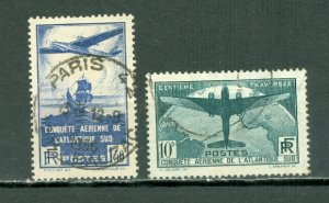 FRANCE 1936 SCARCE :AIR #C16-17(YT 320-21) SET...USED NO THINS...$135.00