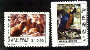#991 PERU 1993 FAUNA BIRD SEAL BRASILIANA YV 997-8 Mi 1494-5 MNH