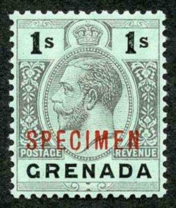 GRENADA SG98as 1913-22 wmk MCA 1s black/green white back opt SPECIMEN black