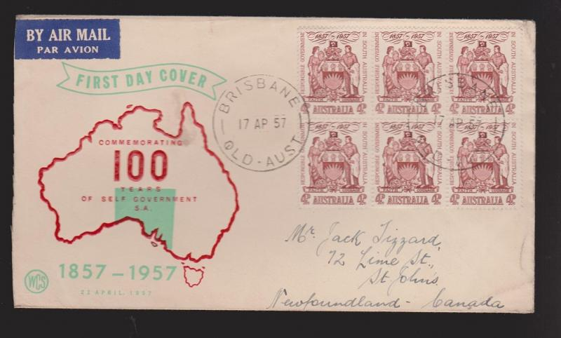 AUSTRALIA Scott # 304 On FDC WCS Thermal Cachet Mailed To Newfoundland