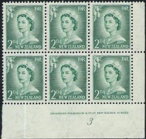 NEW ZEALAND 1955 2d large figures plate block # 3 mint....................50886