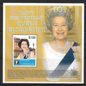 LIBERIA 2006 80th BIRTHDAY OF QUEEN ELIZABETH (2) MNH