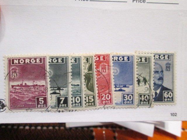 Norway #259-266 used 2018 SCV= $9.00