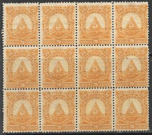 HONDURAS 1890 20c ARMS Issue BLOCK OF 12 Sc 44 MNG