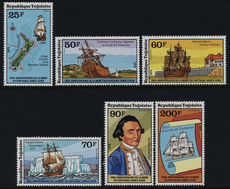 Togo 1016-7, C371-4a MNH Captain Cook, Ships, Map