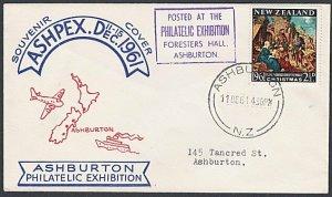 NEW ZEALAND 1961 Ashburton Philatelic Exhibition commem cover / cinderella..L250