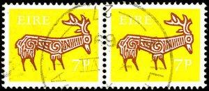 IRELAND Sc 257 VF Used pair-Nice cancel tying both stamps-scarce postally used