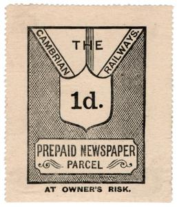 (I.B) Cambrian Railways : Prepaid Newspaper Parcel 1d (large format)