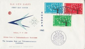 EU40) Turkey 1962 - Europa Stamps On First Day Cover