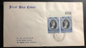 1953 Gambia First Day Cover FDC Queen Elizabeth 2 Coronation QE To Canada