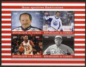 CONGO  2018 AMERICAN ICONS OF SPORT BABE RUTH JORDAN GRETZKY   SHEET MINT