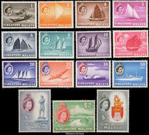 Singapore Scott 28-42 Mint never hinged.