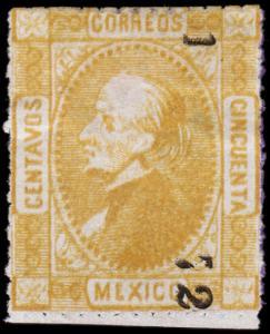 Mexico Scott 102 (1872) Mint H F, CV $175.00