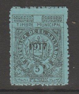 El Salvador revenue Fiscal stamp 10-19-20b mnh no gum 5 Peso
