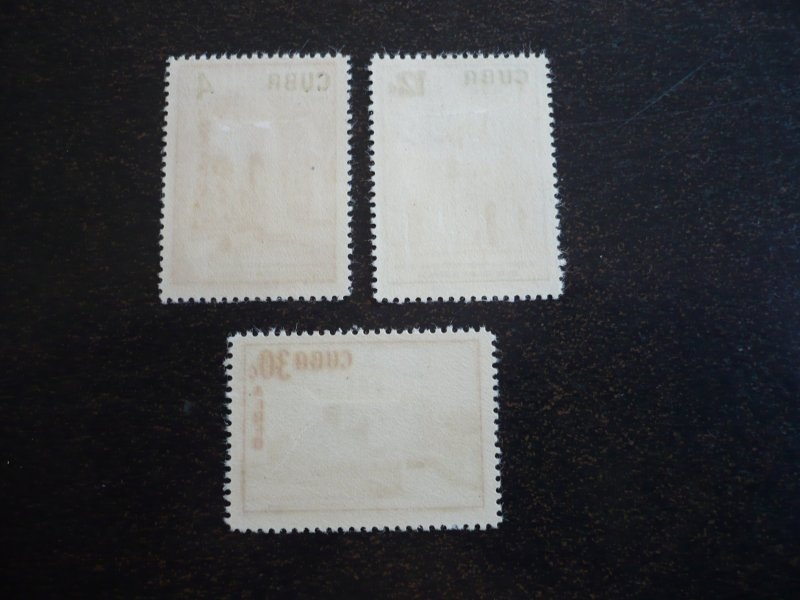 Stamps - Cuba - Scott# 583,C173-C174- Mint Hinged Set of 3 Stamps
