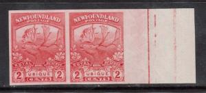Newfoundland #116a XF Mint Imperforate Pair Showing Lathework In Margin