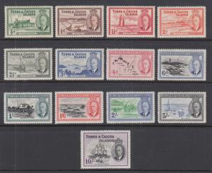 Turks & Caicos Sc 105-117 MNH. 1950 KGVI Pictorials, complete set, VF