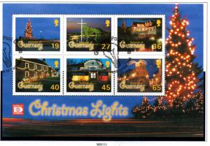 Guernsey Sc 755a 2001 Christmas Lights stamp sheet mint NH