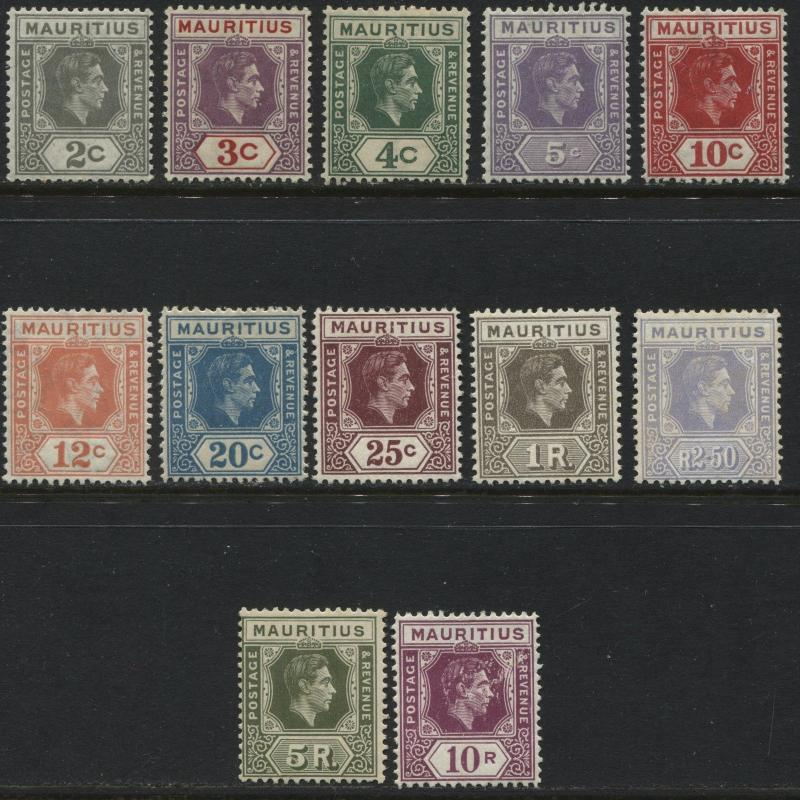 Mauritius 1938-43 KGVI values to 10 rupees complete set mint o.g.