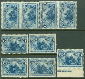 EDW1949SELL : USA 1893 Scott #230 Nice group of 9 stamps, MNH & Fresh. Cat $315