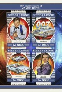 Sierra Leone James Bond Stamps 2018 MNH Cars Roger Moore Pierce Brosnan 4v M/S