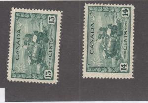 CANADA (MK1398) # 258-259  VF-MH 13,14cts  CDN. ARMY RAM TANKS/DULL GRN  CAT $20