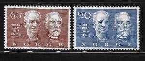 Norway 1968 Nobel peace prize Sc 521-522 MNH A194