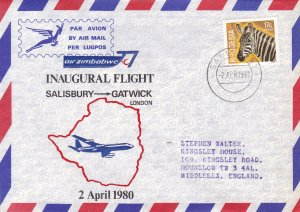 London, U.K. - Salisbury, Rhodesia Inaugural Flight Covers (4) April 1980.