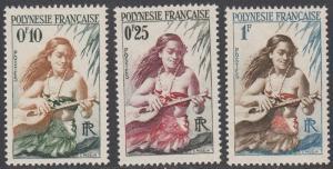 French Polynesia 182-184 MH short set CV $2.45