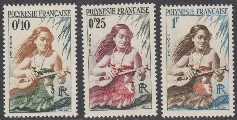 French Polynesia 182-184 MH short set CV $2.45