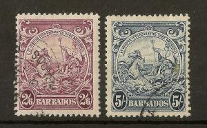 Barbados 1938-47 GVI 2/6d & 5/- SG256/256a Fine Used