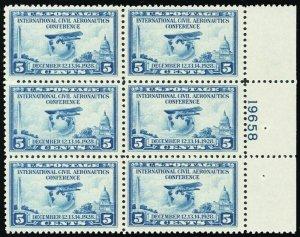 650, Mint VF NH Plate Block of Six Stamps Cat $60.00 --- Stuart Katz