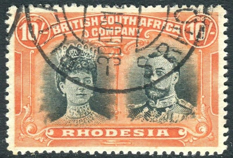 RHODESIA-1910-13 10/- Deep Myrtle & Orange. A very fine used example Sg 163