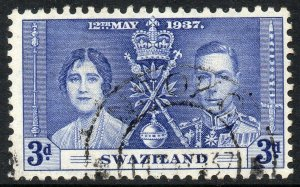 1937 Swaziland Sg 27 3d blue with Nsoko Cancellation dated May 1937