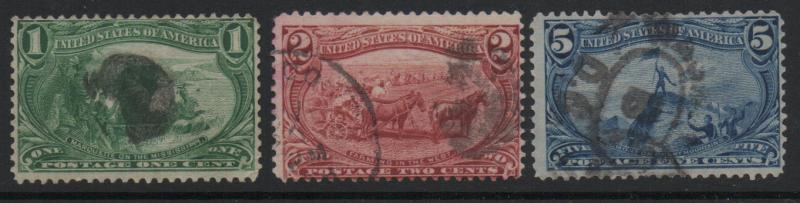 US 1898 Trans-Mississippi Expo 3 Stamps Used F