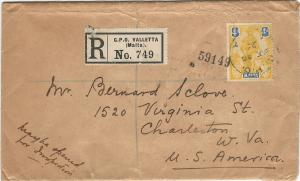 Malta, 1925 Registered Cover, Franked with 5 Stamps, Sent to Charleston, W. VA