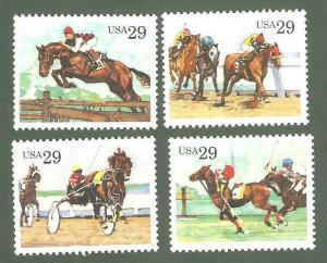 2756-9 Sporting Horses Set Of 4 Mint/nh Free Shipping (A-212)