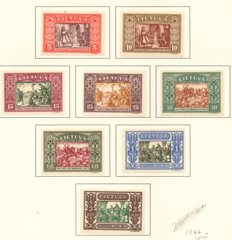 Lithuania Sc 264-71 1932 15th Anniv Independence stamp set mint