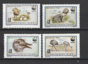 Uruguay MNH 1509-12 Rheas South American Ostriches WWF 1999