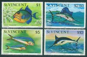St Vincent 1975 $1-$10 Fish HV's Inscribed 1975 Scott 422-425 UMM/MNH