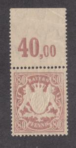 Bavaria Sc 71a MNH. 1899 80pf lilac embossed coat-of-arms, sheet margin copy, VF