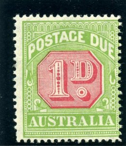 Australia 1931 KGV Postage Due 1d carmine & yellow-green MLH. SG D100.