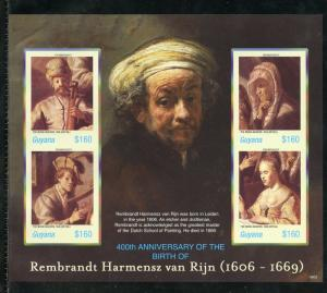 GUYANA 400th BIRTH OF REMBRANDT SCOTT#3937   IMPERFORATE  SHEET  MINT NH