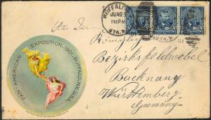 #281 STRIP OF 3 ON PAN-AM EXPO ADV'T COVER BUFFALO, NY TO GERMANY SCARCE BT3009