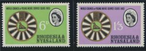 Rhodesia & Nyasaland SG 48/49 Sc# 189/90  MNH Mens Service Clubs  see detail